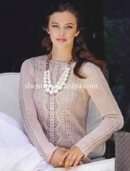 Пуловер из шелковой пряжи с ажурным узором