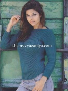 Пуловер с косой резинкой