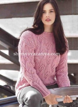 Пуловер с ажурным узором из кос
