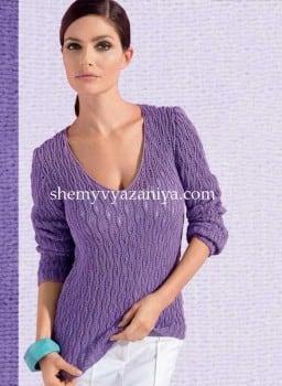 Пуловер резинкой со спущенными петлями