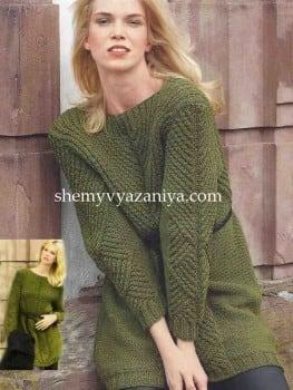 Пуловер с V-образной кокеткой