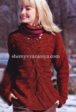 Пуловер с косами и кружевным мотивом