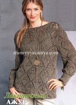 Пуловер ажурными ромбами