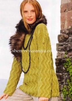 Пуловер с круглой кокеткой из листьев