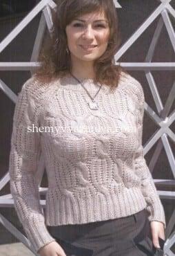 Пуловер - реглан с косами