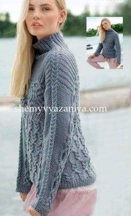 Пуловер с кокеткой и кельтской косой