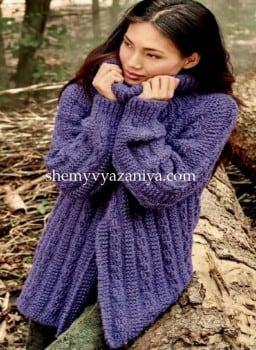 Пуловер с разделенным передом и кокеткой