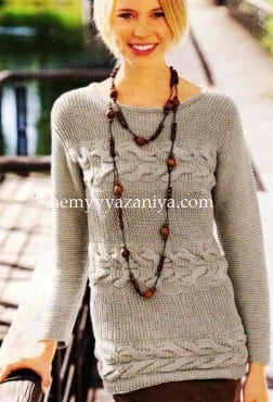 Поперечный пуловер с косами