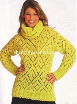 Ажурный пуловер со съемным воротником