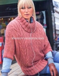 Пуловер-кимано с рельефами и косами