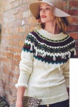 Пуловер с круглой кокеткой жаккардовым узором