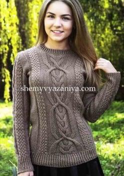 Коричневый пуловер фантазийным узором