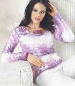Ажурный пуловер полосами