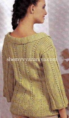 Ажурный пуловер с узором дорожка