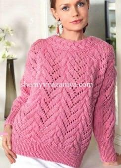 Пуловер с косами и ажурным узором
