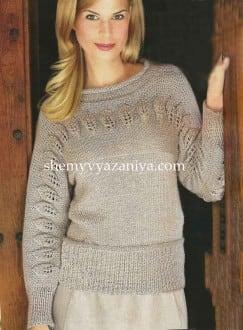 Пуловер с листиками на кокетке