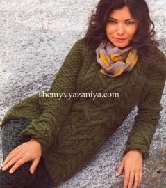 Пуловер-реглан с центральным узором из кос