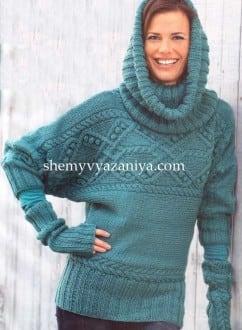 Поперечновязаный пуловер, воротник-хомут и митенки