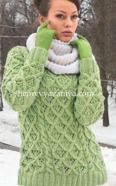 Пуловер ажурными ромбами и снуд