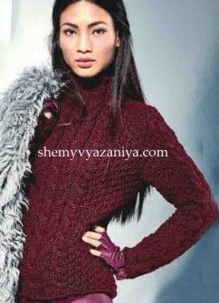 Пуловер с косами и клетчатым узором