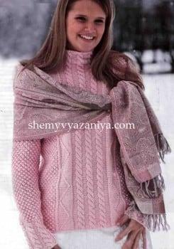 Пуловер с косами и узором розочки