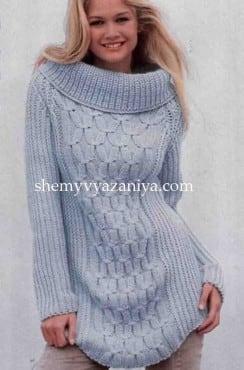 Пуловер рельефным фантазийным узором