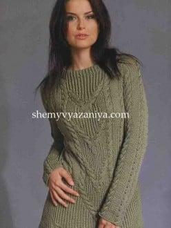 Удлиненный пуловер с центральным узором и косами