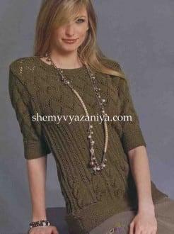 Пуловер с короткими рукавами сочетанием узоров