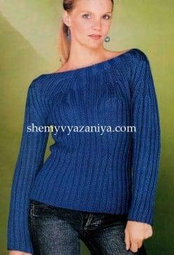 Пуловер с вырезом горловины лодочка