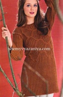 Пуловер с ромбами и полупатентным узором