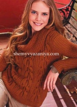 Пуловер с косами и воротником-хомут