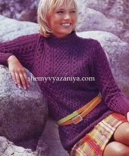 Пуловер с центральным узором на воротнике