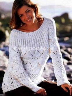 Пуловер сочетанием узоров с круглой кокеткой