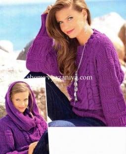 Пуловер с рукавами летучая мышь и шарф-хомут