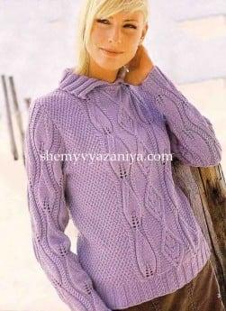 Пуловер с рукавами узором листики