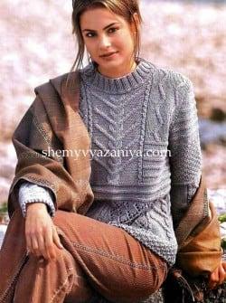 Удлиненный пуловер сочетанием узоров