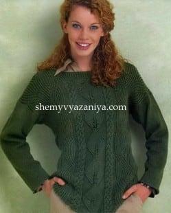 Пуловер с патентным узором и косами