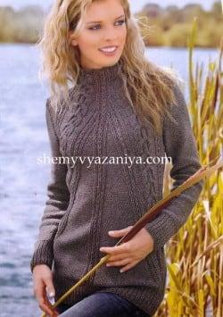 Пуловер- реглан с воротником стойка