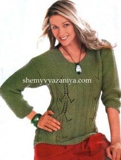 Пуловер с узором из тюльпанов
