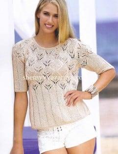 Пуловер с ажурным узором и короткими рукавами