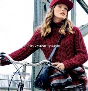 Пуловер с воротником-стойка и узором из кос