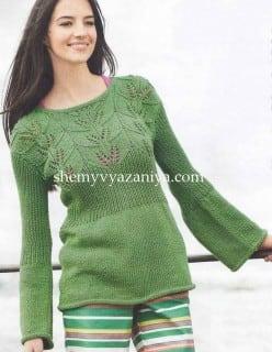 Пуловер с кокеткой узором листики