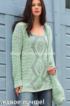 Пуловер и сумка c плетеным узором