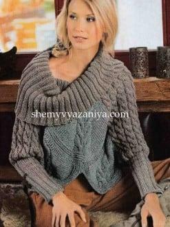 Пуловер-пончо с косами и ромбами