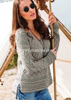 Пуловер сочетанием узоров с удлиненной спинкой