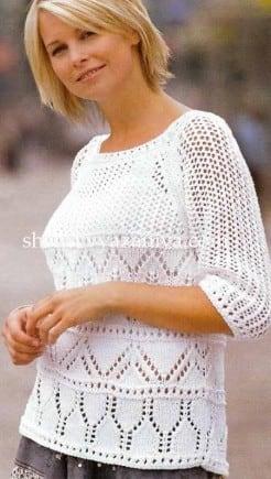 Пуловер-реглан ажурным и сетчатым узором