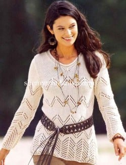 Ажурный пуловер с зигзагами