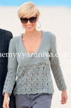 Пуловер с V-образным вырезом и перекрученной планкой