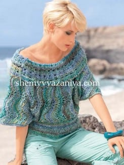 Поперечно вязаный пуловер с широким воротником