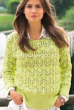 Лимонный ажурный пуловер